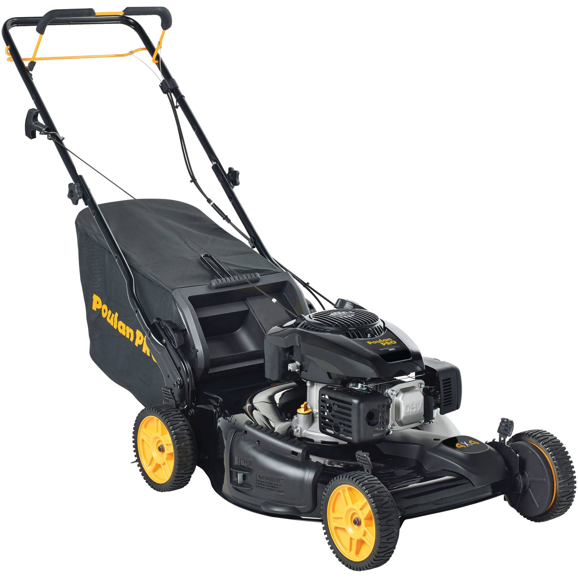 "Poulan Pro 21"" AWD Gas Lawn Mower w/Side Discharge, Mulching & Bagging"