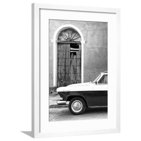 Classic Flame Santa - Cuba Fuerte Collection B&W - Old Classic Car in Santa Clara IV Framed Print Wall Art By Philippe Hugonnard