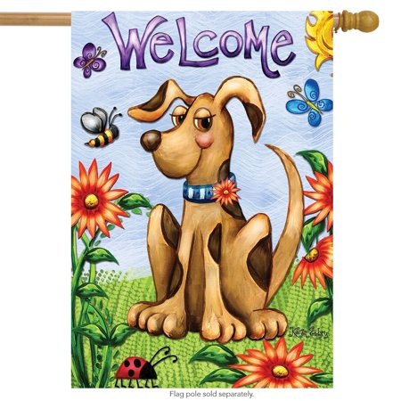 Springtime Puppy Welcome House Flag Seasonal Floral Butterflies 28