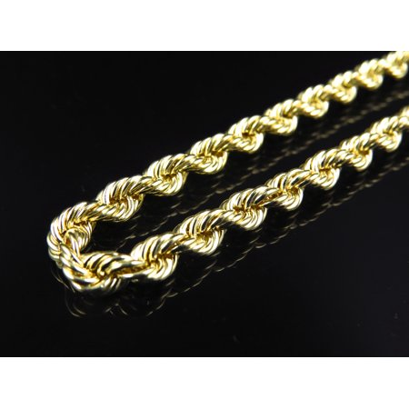 Hollow Rope Chain 5.0 MM in 1/10th 10K Yellow Gold  - Length Necklace