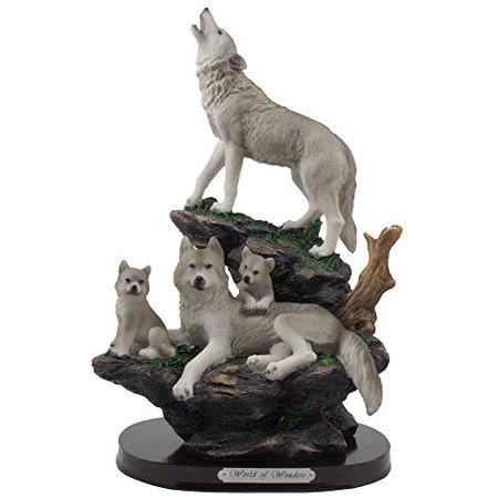 Rustic Lodge Rock (Rustic Cabin Lodge Decor Howling Wolf and Family on Rock Statue by Home n)