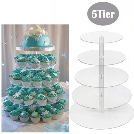 Round Clear Acrylic Cupcake Stand Wedding Party Display Cake Tower 5 Tier