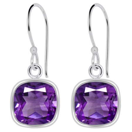 - 3 Carat Cushion Cut Purple Amethyst 925 Sterling Silver Dangle Earrings
