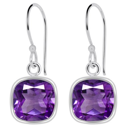 3 Carat Beautiful Cushion Cut Natural Purple Amethyst Bezel Set 925 Sterling Silver Dangle Earrings For Women (Dolphins Set Jewelry Set)