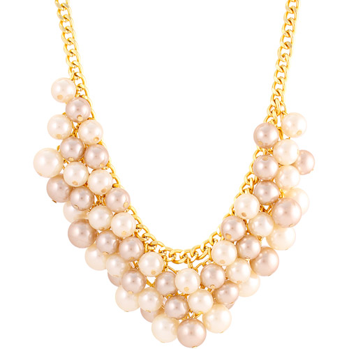 Gold Tone Champagne Faux Pearl Bauble Bib Necklace, 18""