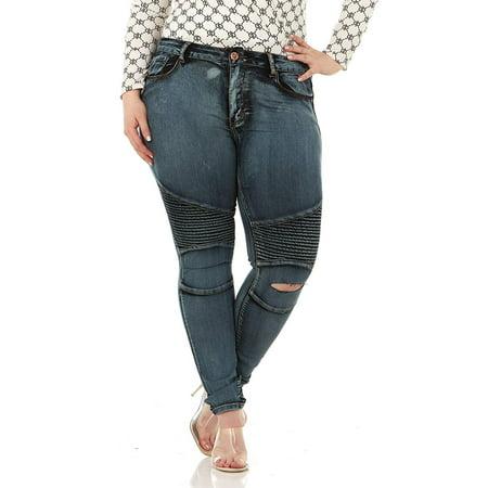Cover Girl Dark Blue Blue Moto Biker Trendy Motorcyle Knee rip Skinny Jeans for Juniors Size 5/6