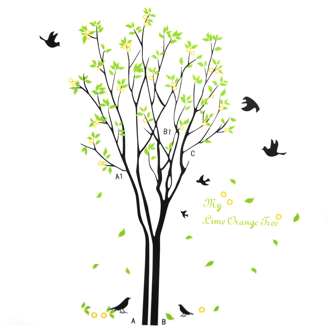 Family Living Room Orange Tree Pattern Wall Sticker Decal Mural 90 x 60cm