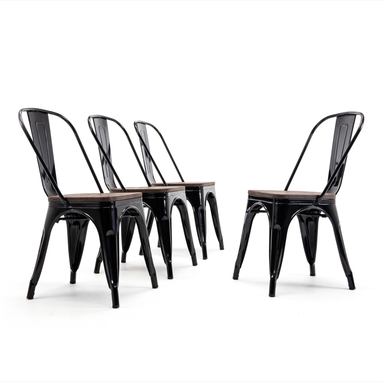 Beau BELLEZE Modern Style Metal Industrial Stackable Bistro Dining Chairs Set Of  4 Wood Seat Cafe Bar Restaurant Stool   Walmart.com