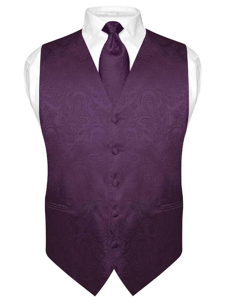 Men's Paisley Design Dress Vest & NeckTie DARK PURPLE Color Neck Tie Set