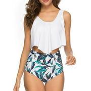 Women 2Pcs Padded Ruffle Strappy Crop Tops High Waist Bikini Set Swimsuit Swimwear Summer