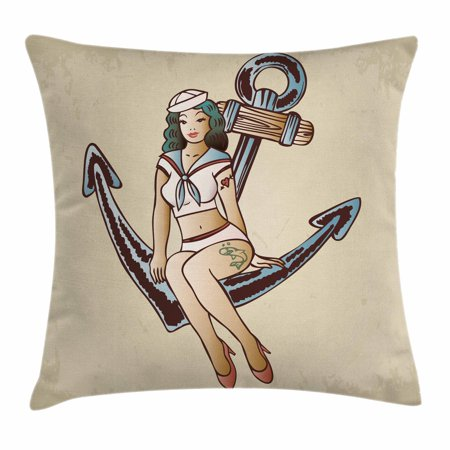 Anchor Throw Pillow Cushion Cover, Pinup Girl with Sailor Outfit Shark and Heart Tattoo Vintage Twenties Illustration, Decorative Square Accent Pillow Case, 24 X 24 Inches, Multicolor, by Ambesonne - Twenties Outfit
