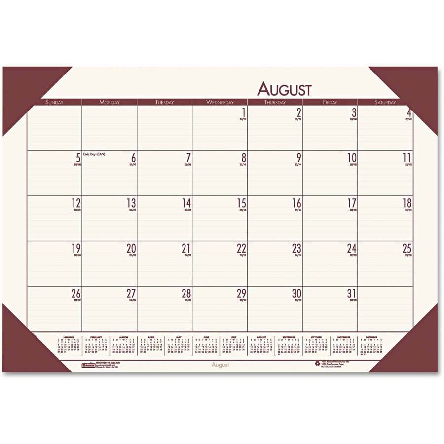 Doolittle Academic Monthly Desk Calendar, EcoTones Cream, 2018-2019  (HOD012541)