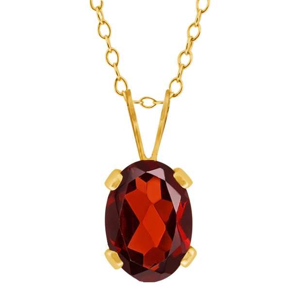 0.90 Ct Oval Shape Red Garnet Yellow Gold Plated Brass Pendant
