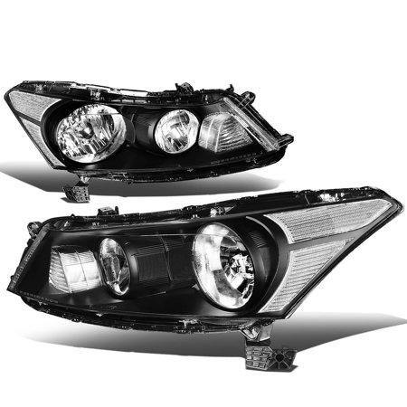 For 08 to 12 Honda Accord 8th Gen 4-Dr Sedan Pair of OE Style Black Housing Clear Corner Headlight Headlamp 09 10 11 Left+Right Black Headlights Clear Corner