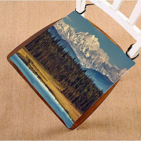 PHFZK Landscape Chair Pad, McKinley Peak Alaska Unite State Seat Cushion Chair Cushion Floor Cushion Two Sides Size 16x16 inches