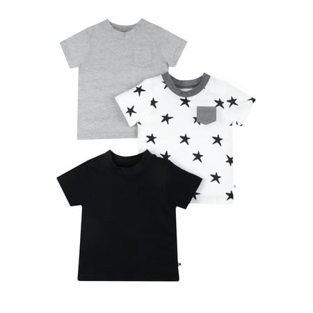 3dca1e37a5ccd Little Star Organics Short Sleeve Pure Organic True Brights Shirts, Pocket  Tee, 3 Pk (Baby Girls & Toddler Girls, Baby Boys & Toddler Boys, Unisex)