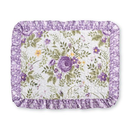 Country European Sham (Country Purple Floral Quilted Design with Ruffled Trim Pillow Sham - Seasonal Bedding, Standard, Lavender )