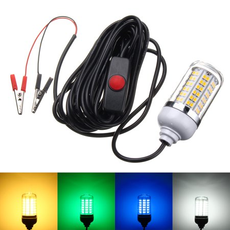 12V 15W 2835 108SMD With Switch LED Fishing lights Underwater Light 360? Lighting Waterproof IP68 ABS Super White Yellow Blue Green ()