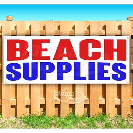 Image of BEACH SUPPLIES 13 oz heavy duty vinyl banner sign with metal grommets, new, store, advertising, flag, (many sizes available)