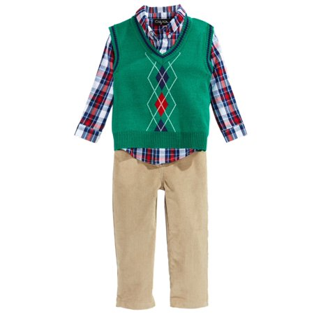 Only Kids Infant Boys 3 Piece Dress Up Outfit Pants Shirt Green Sweater Vest