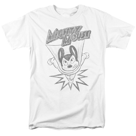 Mighty Mouse Bursting Out Mens Short Sleeve Shirt (White, XX-Large) (Bursting Out)