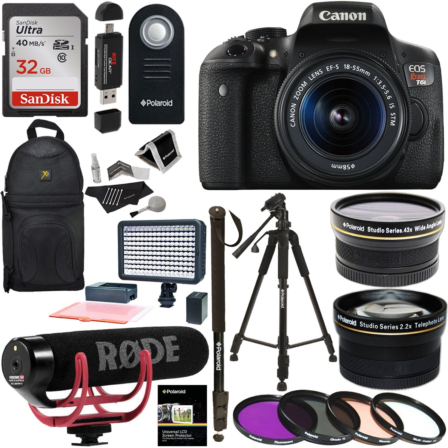 Canon EOS Rebel T6i Video Creator Kit with 18-55mm Lens +...