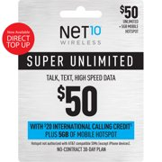 Net10 $50 Super Unlimited Talk, Text, Data 30 Day Plan w/ Int'l Calling Credit + 5GB of Mobile Hotspot Direct Top Up