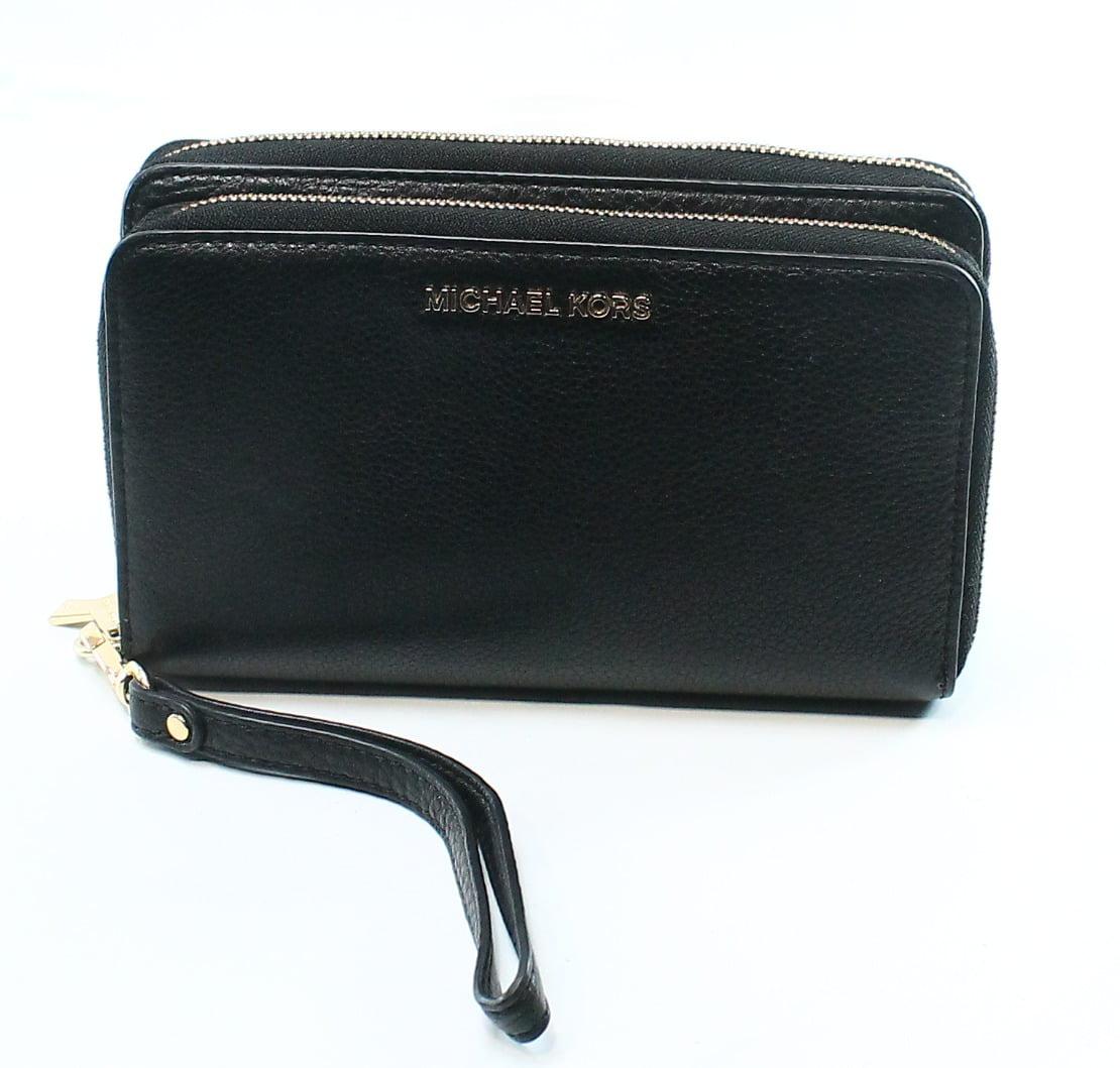 Michael Kors NEW Black Leather Adele Double Zip Around Wristlet Wallet