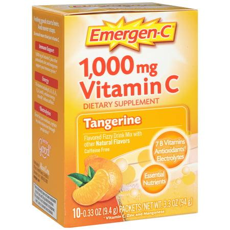 Mandarine Flavored 1000 mg de vitamine C Supplément boisson gazeuse Mix 10 pk