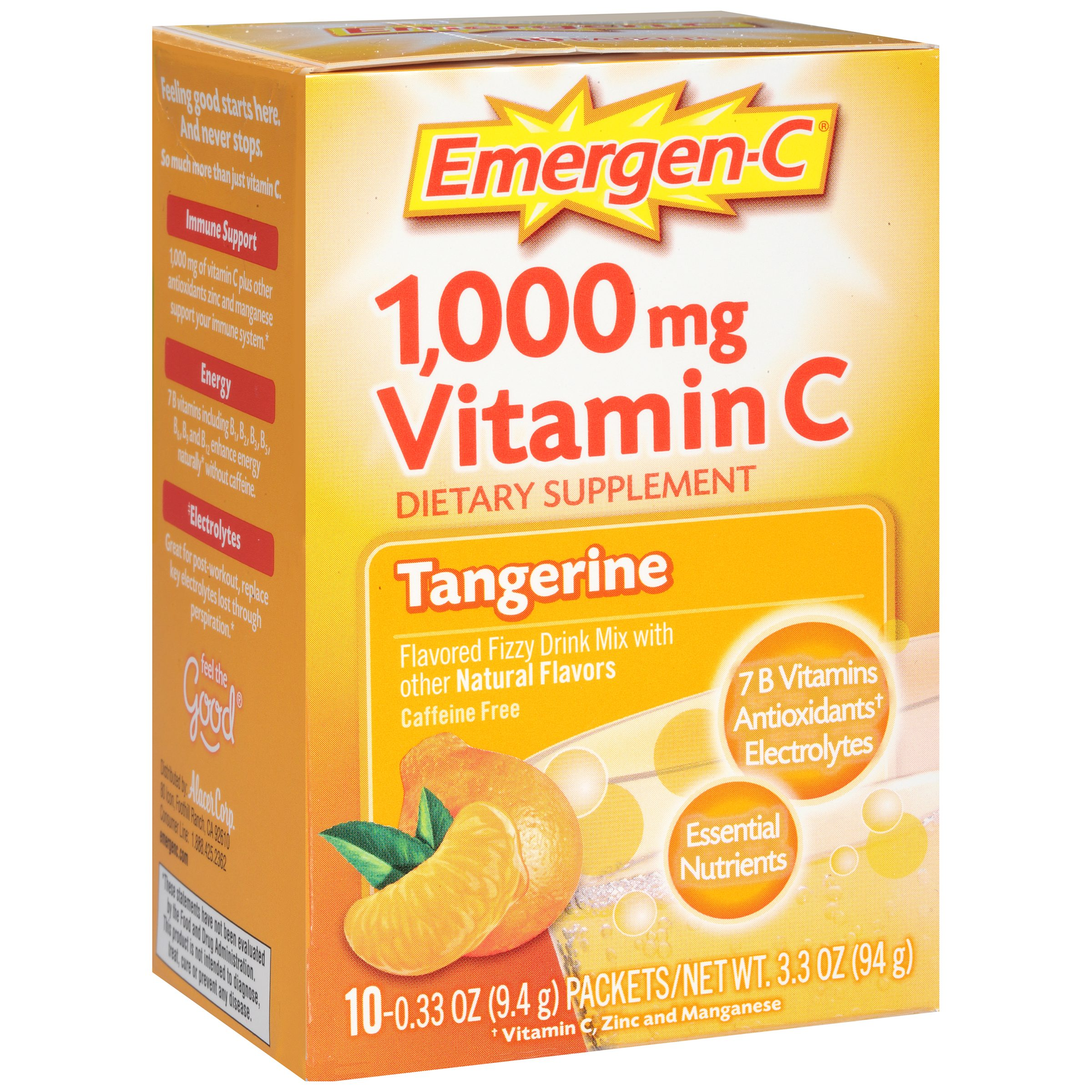 Emergen-C (10 Count, Tangerine Flavor) Dietary Supplement Fizzy Drink Mix with 1000 mg Vitamin C, 0.33 Ounce Packets, Caffeine Free