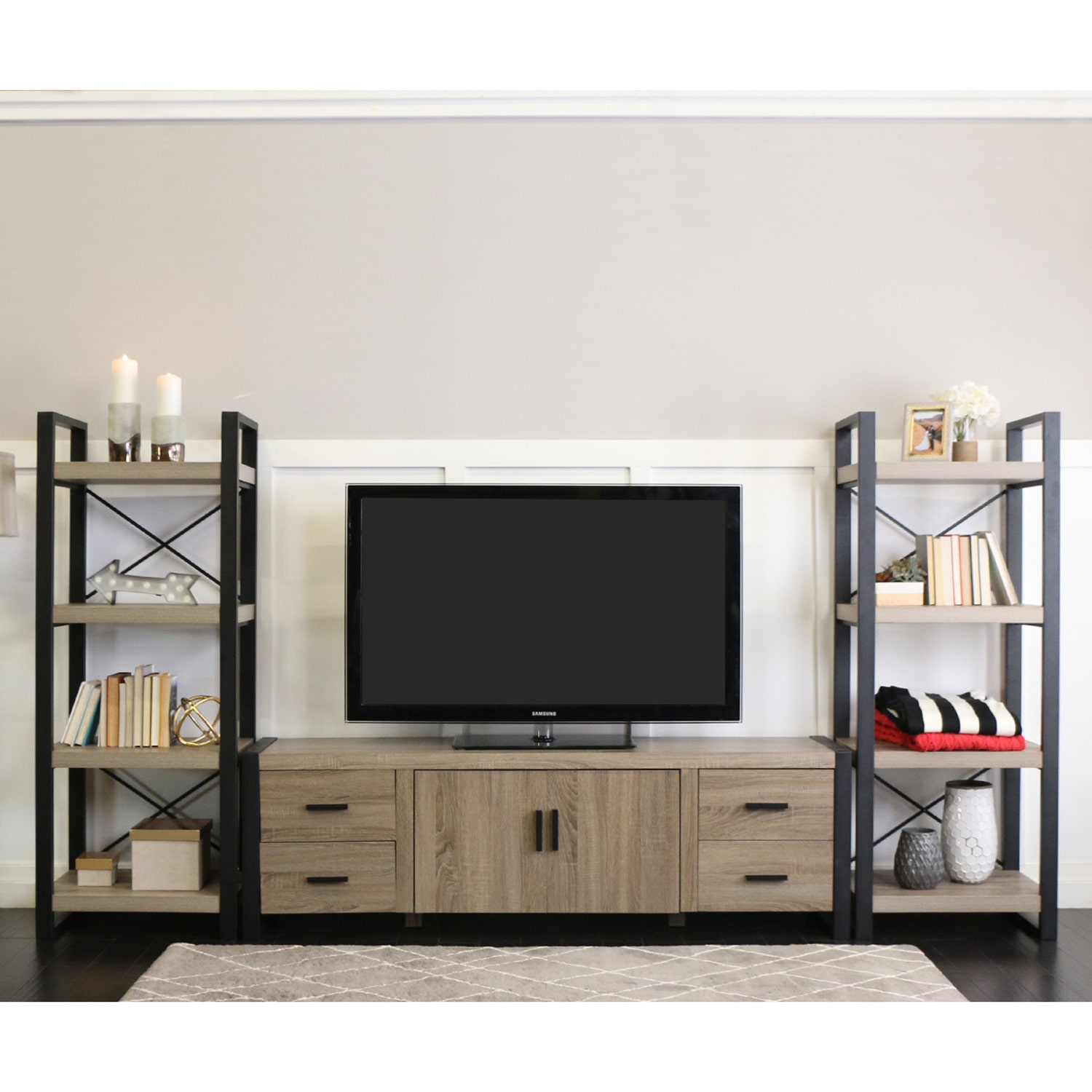 WE Furniture 70-inch Urban Blend Entertainment Center - Walmart.com