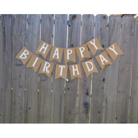 Burlap Banner: 'Happy Birthday'