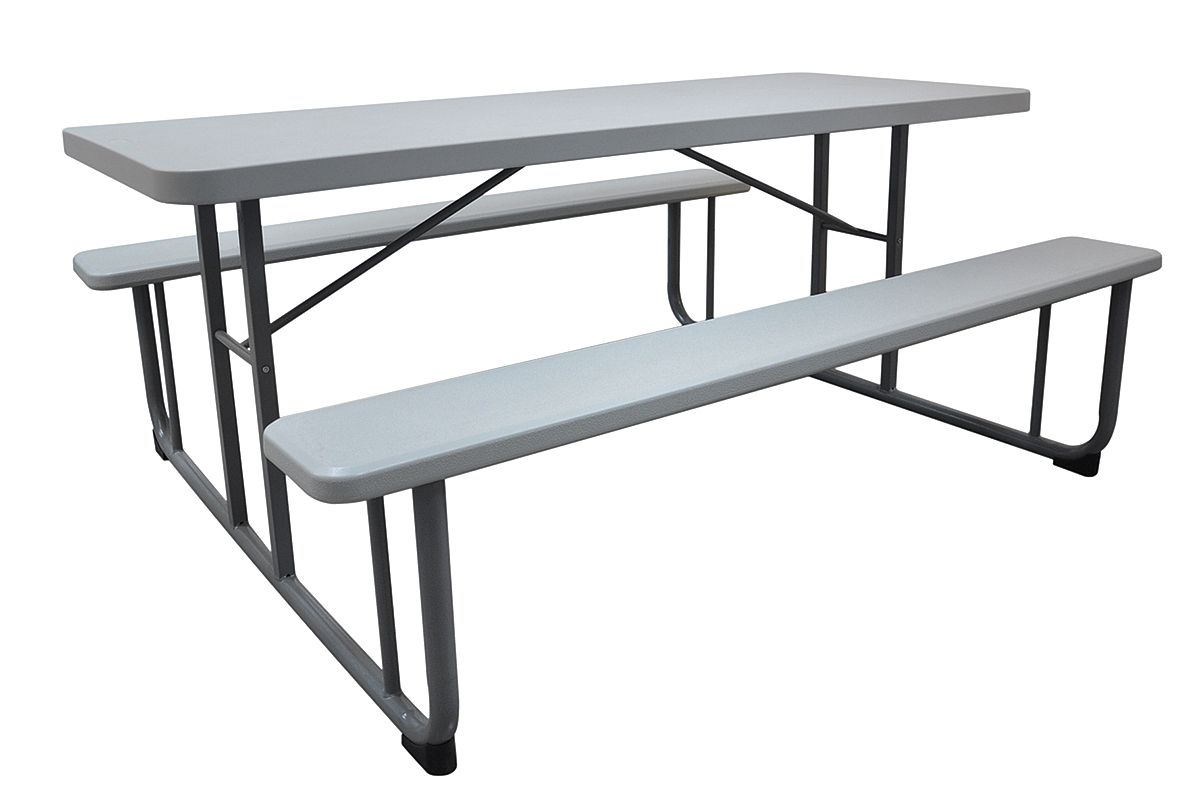 "57""D x 72-1 8""W Rectangle Plastic Picnic Table, Gray 12F621 by VALUE BRAND"