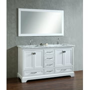 Newport White 60 inch Double Sink Bathroom Vanity with Mirror Image 3 of 7