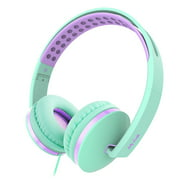 Jelly Comb On Ear Headphones with Mic Foldable 3.5mm Corded Headphones Wired Headsets Volume Control Stretchable Headband for Cell Phone, Tablet, PC, Laptop, MP3/4, Video Game Mint Green