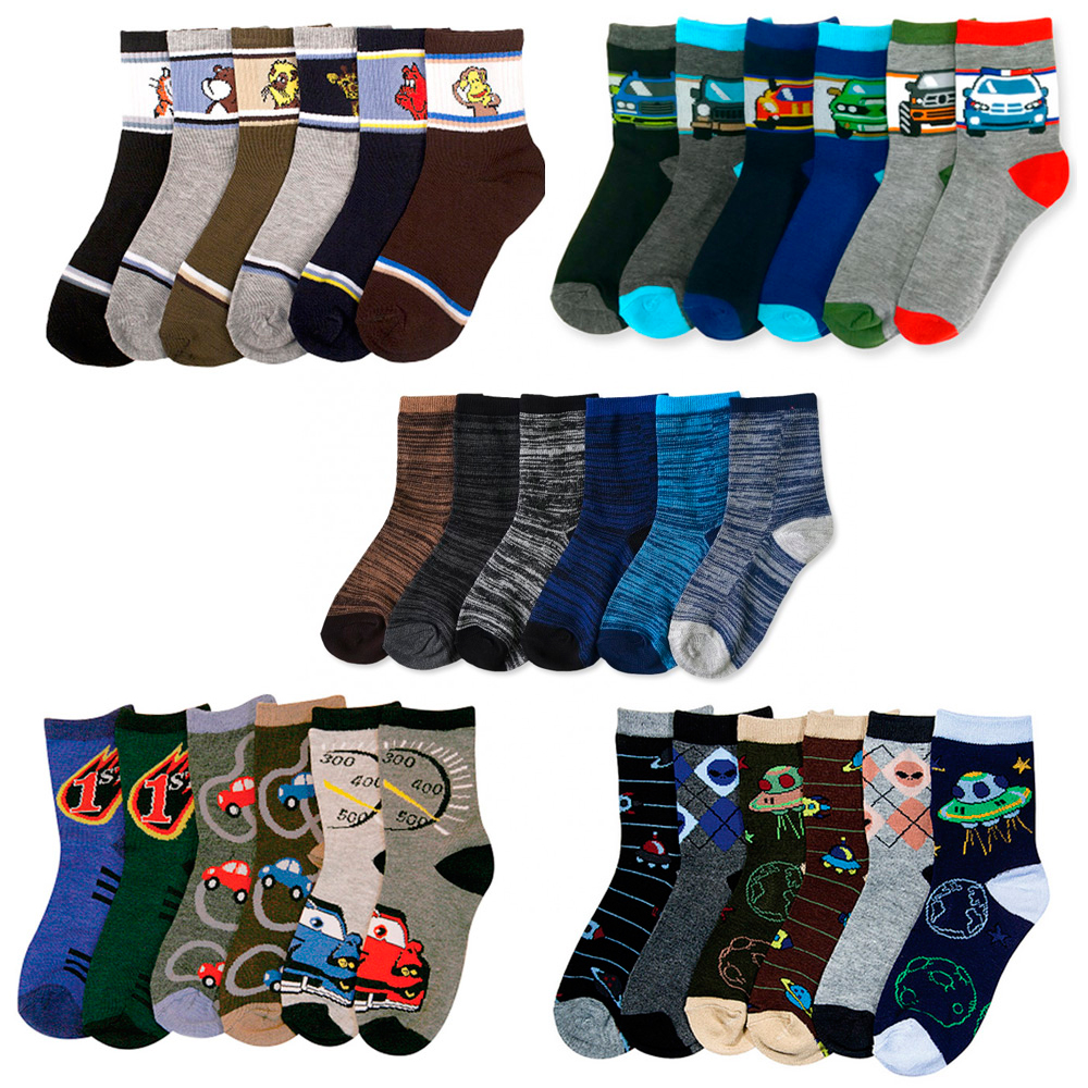 6 Pairs Assorted Kids Socks Size Ages 2-3 Years Animal Print Boys 2T 3T Toddler