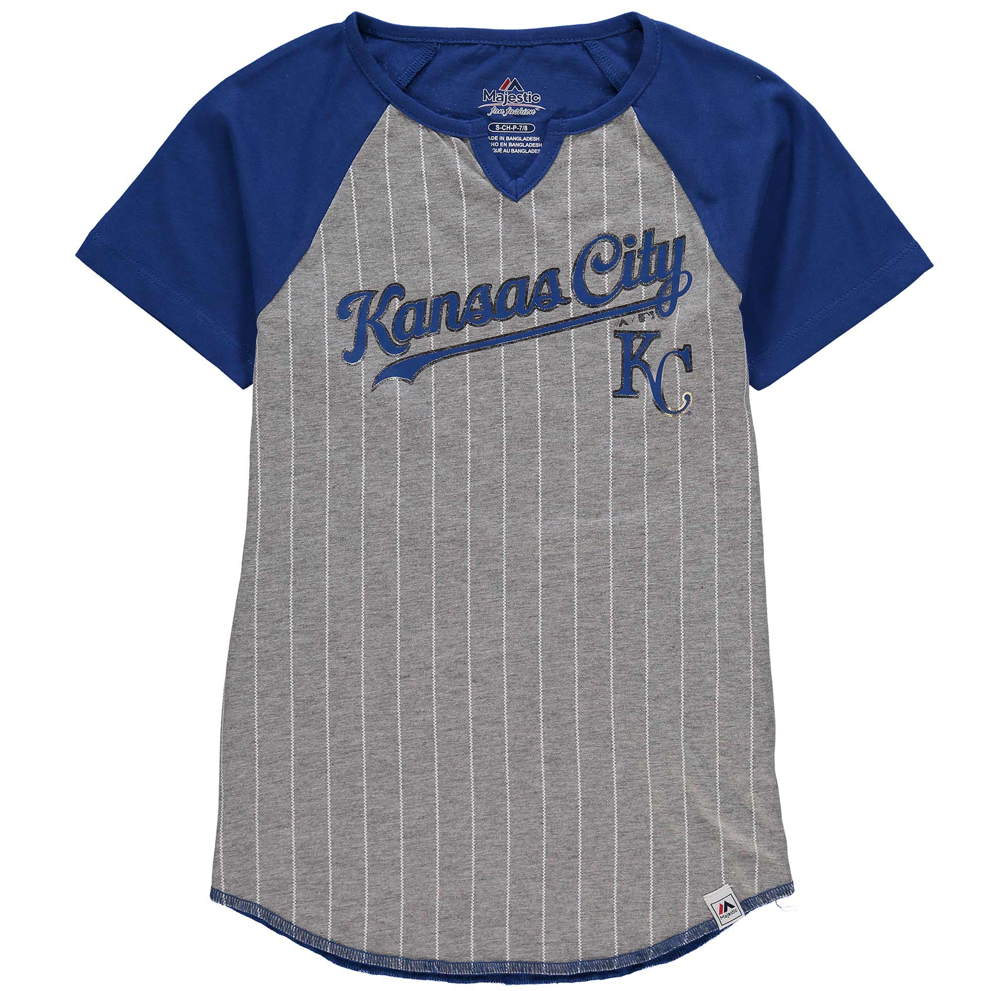 Kansas City Royals Majestic Girls Youth From the Stretch Notch Neck T-Shirt - Gray