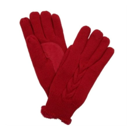 Isotoner Womens Spandex Gloves (Isotoner Womens Red Cable Knit Gloves with Soft Microluxe Lining )