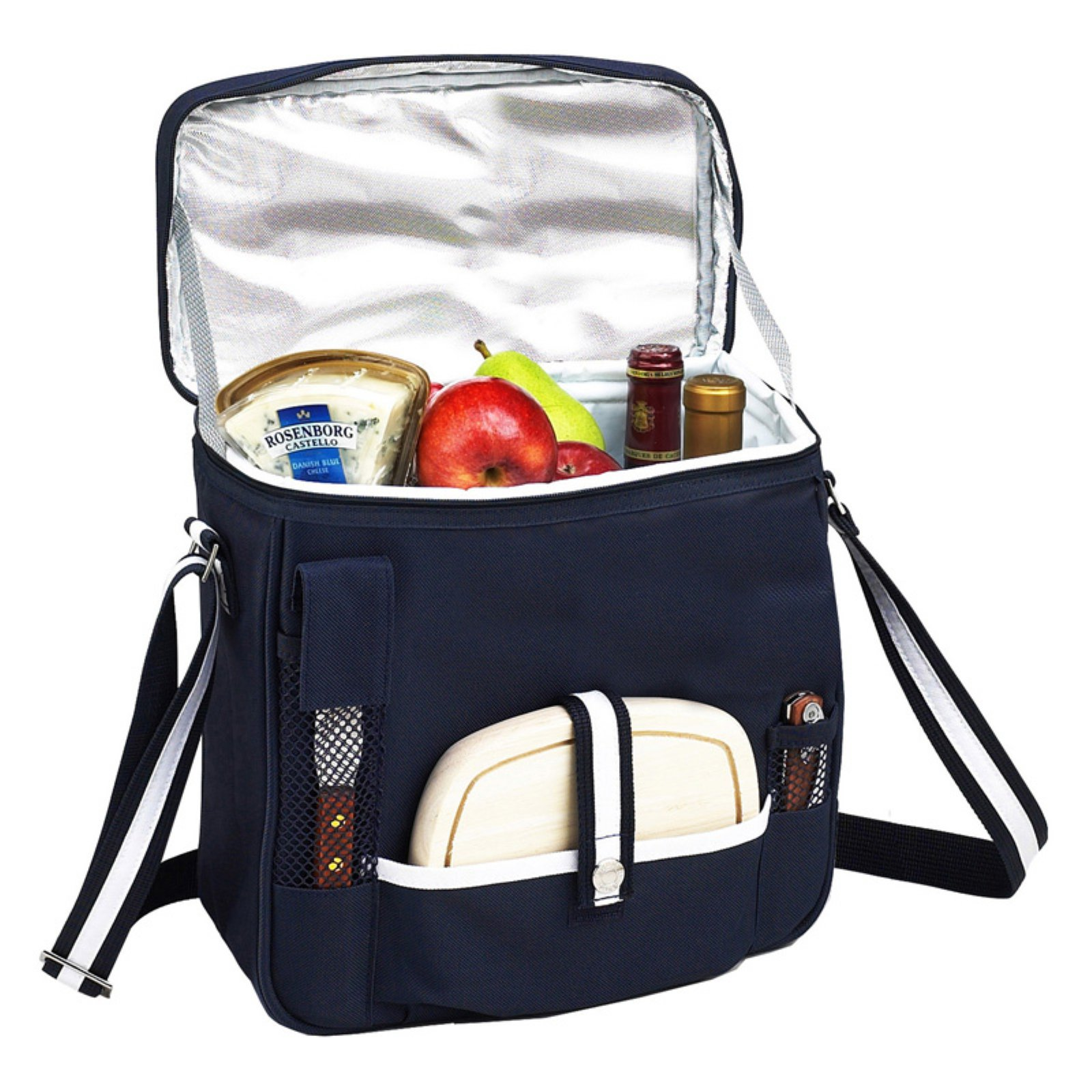 Picnic at Ascot Wine and Cheese Cooler - Navy and White