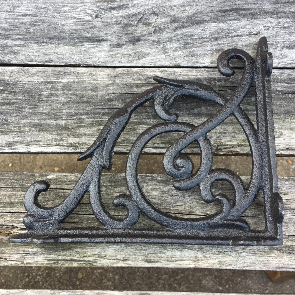 "4 BROWN ANTIQUE-STYLE 8/"" SHELF BRACKETS CAST IRON garden wall rustic VICTORIAN"
