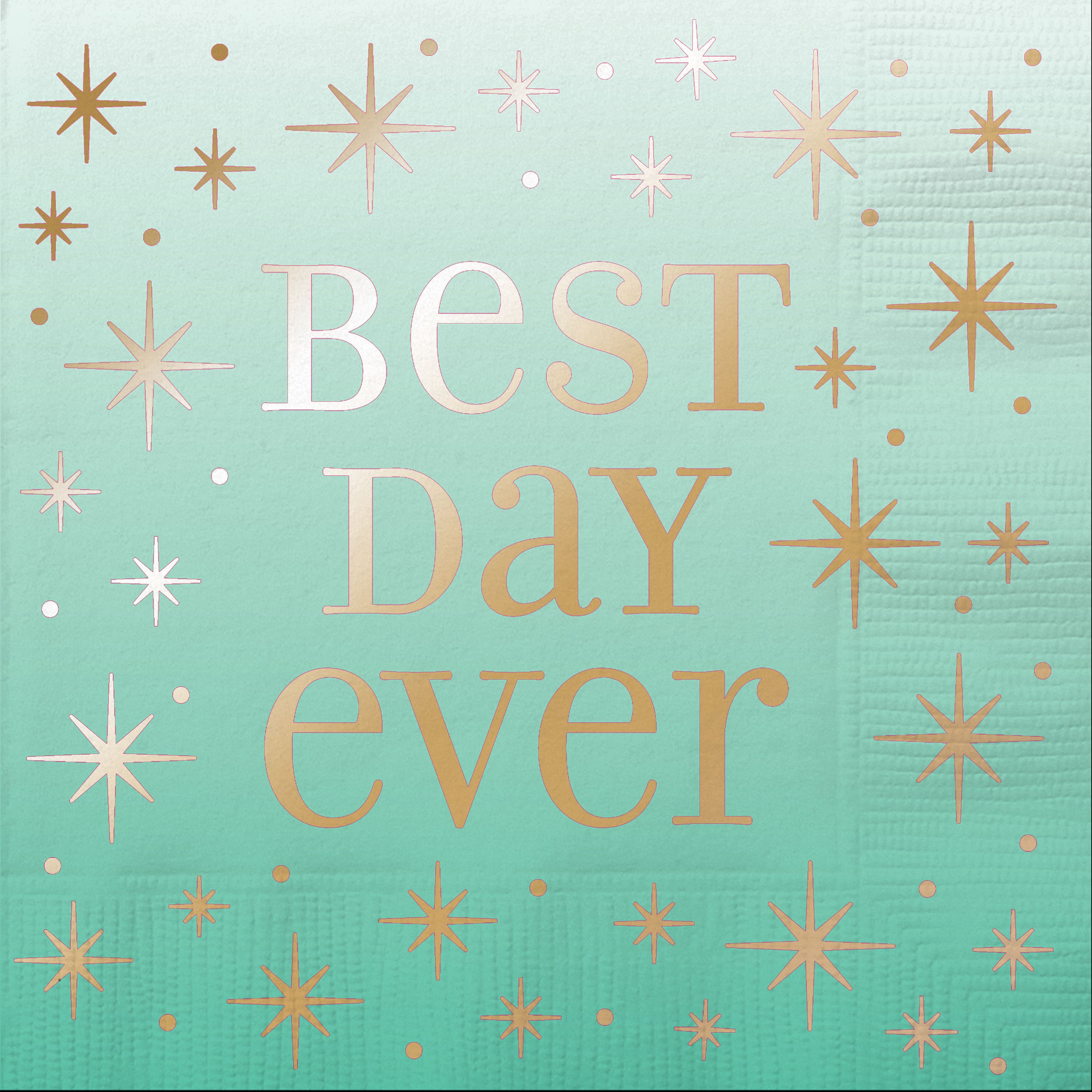 Foil Gold & Ombre Best Day Ever Cocktail Napkins, 16ct