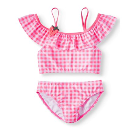 Gingham Cold Shoulder Bikini Swimsuit (Little Girls & Big Girls)