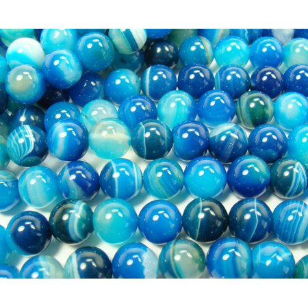 6mm 15.5 inches Sea blue striped agate plain round beads Genuine Natural Gemstone Jewelry making