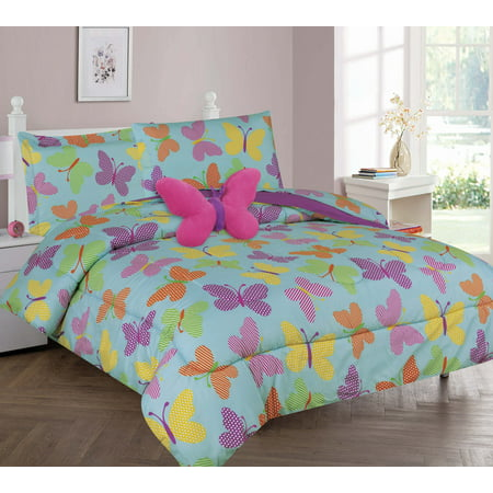 Golden Linens Twin Or Full 6 Pcs or 8 Pcs Comforter/ Coverlet / Bed in Bag Set with Toy (Twin, Butterfly Turquoise)