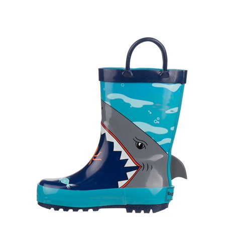 Rugged Bear Shark Bite Printed Fish Rain Boots (Toddler Boys)