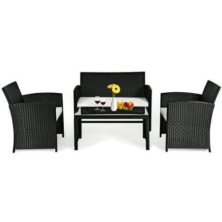 Costway 4PCS Patio Rattan Furniture Conversation Set Cushioned Sofa Table Garden Black - image 6 of 9