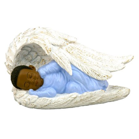 African American Baby Boy in Pink Wrapped in Angels Wings Figurine Decoration