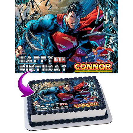 Superman Edible Image Cake Topper Personalized Icing Sugar Paper A4 Sheet Edible Frosting Photo Cake 1/4 Edible Image for cake](Superman Cake Topper)
