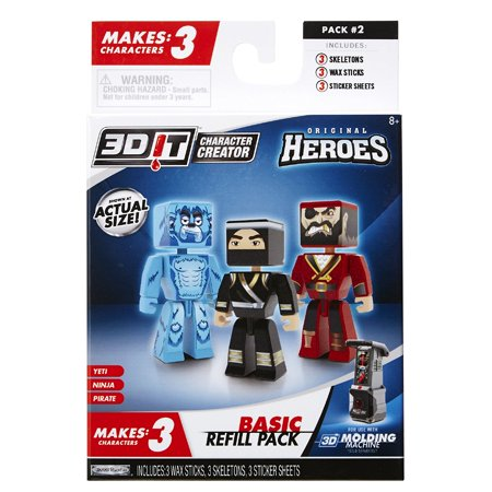 City Novelties (3D Character Creator City Heroes Style 2 Basic Refill Pack Novelty Toy, Make your own custom characters! By 3DIT Character)