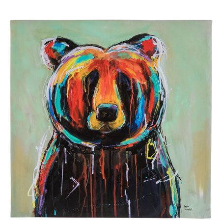 Painted Bear Canvas Wall Decoration Home Office Decor Man Cave